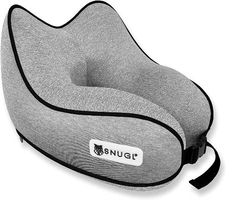 SNUGL Travel Pillow - Premium Ergonomic Design Memory Foam Cushion