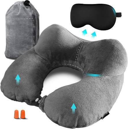 SYCOTEK Travel Pillow Inflatable Neck Pillow Flight Cushion with Eye Mask