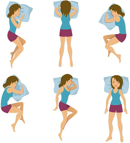 Woman In Different Sleeping Positions