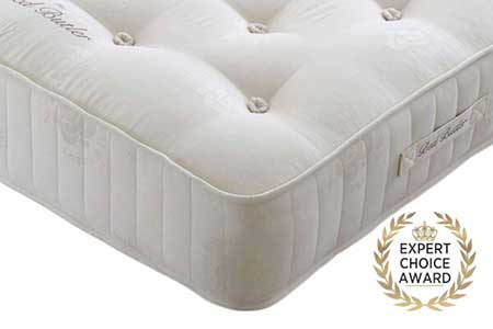 Happy Beds Compact Gold Tufted Orthopaedic Spring Mattress Damask Fabric Medium
