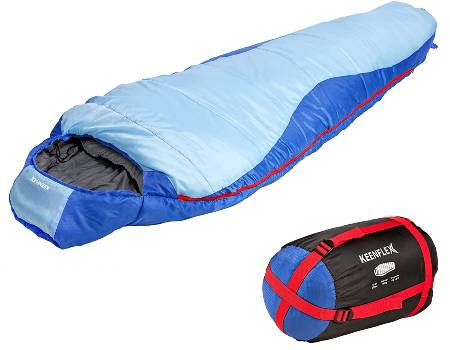 KeenFlex Mummy Sleeping Bag 3 Season Extra Warm & Lightweight Compact Waterproof