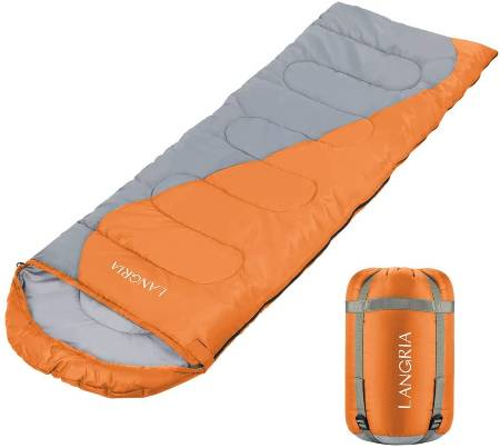 LANGRIA 3 Seasons Sleeping Bag with 2 Way Zipper & Compression Bag