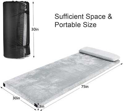 AONESY Camping Mattress Memory Foam Roll Up Mat With Pillow